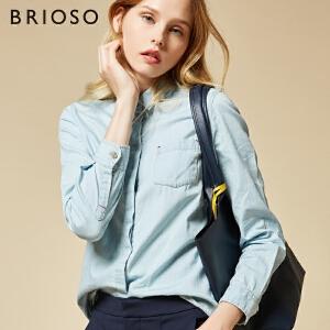 BRIOSO 女士牛仔衬衫 秋装新款暗门襟牛仔长袖衬衫韩范浅色学生衬衣百搭女装上衣 WE20795