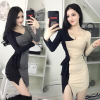 夜店女装秋季新款性感V领拼色长袖开叉包臀裙修身打底连衣裙