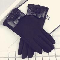手套女冬季韩版可爱柔软绒布针织保暖时尚蝴蝶结修手分指女士手套
