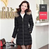 棉衣女中长款2017冬装新款韩版大码女装加厚棉袄冬季羽绒外套 4XL 建议160-180斤