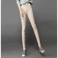 女士打底裤秋冬外穿加绒新款小脚裤女式高腰纯棉铅笔裤子米色