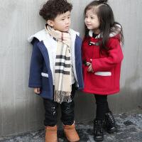 男童女童冬装外套毛呢加绒加厚韩版百搭时尚宝宝男宝女宝呢子大衣