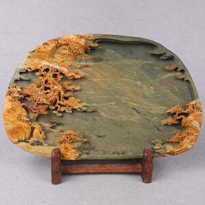 中国非物质文化遗产传承人群 钟景锐作品《秋山美景》砚 绿端