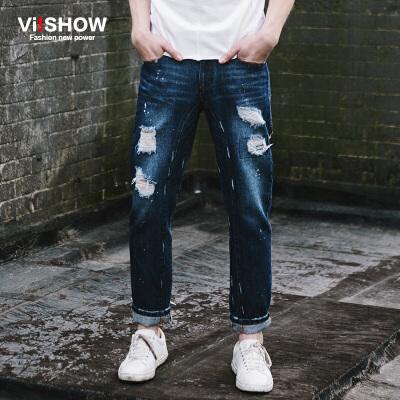 VIISHOW春季新款男士牛仔裤宽松休闲复古男牛仔长裤子韩版潮男装满199减20 满299减30 满499减60 全场包邮