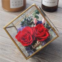 永生花礼盒玻璃花房diy摆件康乃馨保鲜玫瑰干花生日情人节礼物 A1-瑰丽红