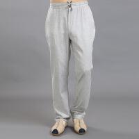 中国风薄亚麻男装裤子松紧腰长裤夏季宽松男士加肥加大码棉麻裤子