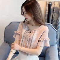 蕾丝拼接雪纺衬衫女2018夏季新款韩版宽松短袖雪纺衫细带蕾丝拼接雪纺上衣