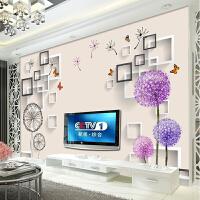 3d立体电视背景墙壁纸现代简约客厅装饰墙纸蒲公英壁画8d影视墙布 仅墙纸