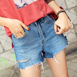 RANJU 然聚2018女装夏季新品新款韩版高腰牛仔短裤女毛边个性破洞牛仔短裤