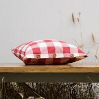 全棉水洗棉日式简约条纹格子纯素色抱枕靠垫沙发床头靠枕靠背