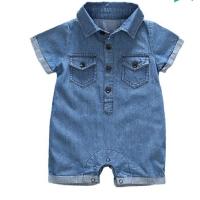 男女宝宝夏装爬服新生儿衣服0-6-12个月男女宝宝牛仔短袖连体哈衣