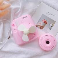 创意拍立得照相机造型风扇随身迷你便携挂脖usb风扇桌面风扇可爱 粉色