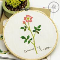 手工DIY布艺刺绣材料包小清新野玫瑰简单小幅欧式刺绣手作套件