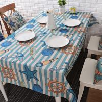 小清新海洋风创意棉麻桌布地中海茶几桌布圆桌布艺餐桌布台布盖布 地中海 条纹 140*230cm 加厚款