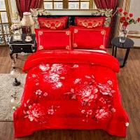 婚庆拉舍尔毛毯结婚双层毯子大红色双人加厚盖毯被子毛毯冬季绒毯 200cmx230cm误差5cm