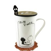陶瓷简约创意咖啡杯马克杯带盖勺 水杯牛奶杯情侣星巴杯克卡通陶瓷杯子