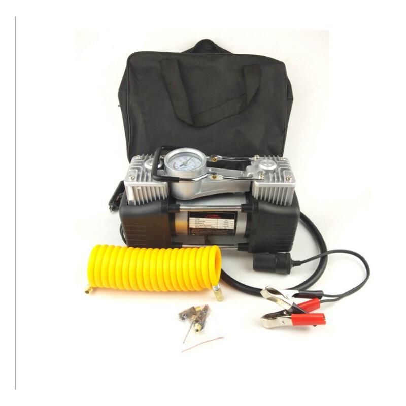 大功率充气泵 汽车双缸充气泵 24.5*10*20CM车载打气泵新品上架