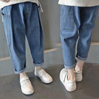 春装新款童装牛仔裤女童哈伦裤儿童宽松裤子中大童长裤韩版