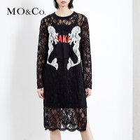 MOCO透视蕾丝两件套圆领套头长袖连衣裙MA174DRS204 摩安珂