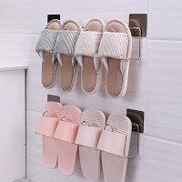 浴室拖鞋架墙壁挂式免打孔不锈钢卫生间置物架家用宿舍鞋子收纳架