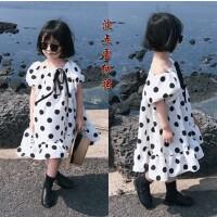 韩国童装2018夏装新款母女装女童雪纺裙短袖大摆中大童波点连衣裙