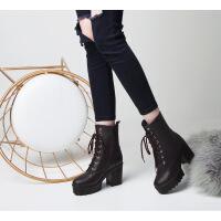 冬季女鞋短靴女秋单靴系带高跟马丁靴女防水台粗跟拉链短筒女靴子