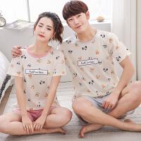 2套价 夏季短袖情侣睡衣纯棉男女全棉半袖夏款韩版家居服大码套装
