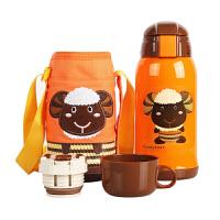 【当当自营】杯具熊(BEDDYBEAR) 儿童保温杯带吸管儿童水杯不锈钢宝宝儿童保温壶学生水杯630ml 橙色小羊