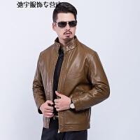 冬季新款男装立领加厚保暖皮夹克 中老年男式加绒皮衣外套 男 卡其色 170