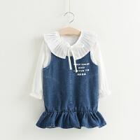 2018春款童装新款 韩版女童牛仔鱼尾背心裙+荷叶领衬衫两件套装