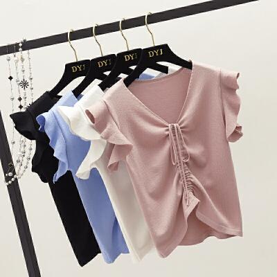 2018夏季 韩范小清新洋气木耳袖抽绳短款修身百搭上衣针织衫