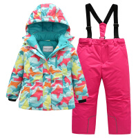20180227222750465户外儿童滑雪服套装女童冬季加厚保暖防风防水中大童滑雪衣裤