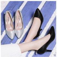古奇天伦韩版新款浅口单鞋黑色工作鞋高跟鞋细跟尖头性感女鞋春季百搭WE03345