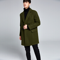 男士羊毛大衣英伦韩版简约双排扣毛呢子大衣外套中长款呢风衣青年