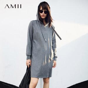 AMII极简设计感韩版连帽卫衣连衣裙女秋装2018新纯棉宽松显瘦裙子.