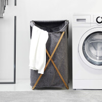 家用创意牛津布脏衣篮竹木脏衣服收纳筐大号可折叠布艺家居收纳篓 灰色