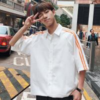 夏季港风男士纯色简约衬衣学生宽松两条杠小清新短袖衬衫