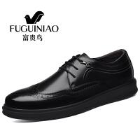 富贵鸟男士时尚休闲鞋 青年正装商务布洛克雕花皮鞋男 黑色A781051-w 42
