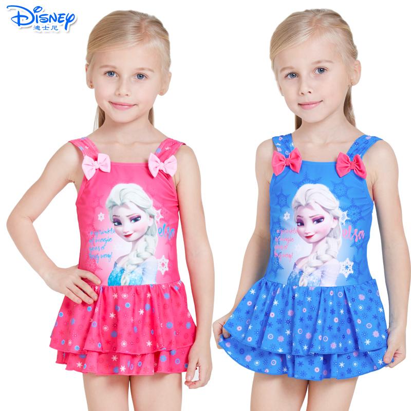 迪士尼儿童泳衣冰雪公主苏菲亚连衣裙游泳衣连体泳装