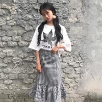 春季女装韩版刺绣字母半袖T恤+格子高腰开叉鱼尾裙包臀半身裙套装