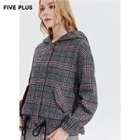 Five Plus新款女冬装格子毛呢外套女宽松连帽千鸟格长袖开襟复古