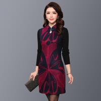 现货新款毛呢连衣裙秋冬款针织长袖中年女装妈妈装修身显瘦包臀裙 玫红色