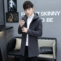 中长款带帽毛呢大衣男装韩版修身学生冬季风衣男新款加厚帅气外套 灰色 17991款