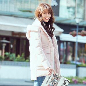 高梵2017冬季新款保暖舒适中长款连帽羽绒服女 韩版时尚淑女外套