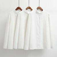 加绒衬衫女200斤长袖冬季韩版加肥加大码胖MM白色加厚保暖衬衣潮