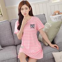 夏季韩版女士短袖睡裙中长款卡通加大码性感睡衣裙全棉家居服 粉红色 7701粉条纹