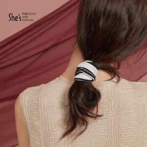 shes发饰品 跃动条纹系列时尚条纹针织发圈 扎马尾发绳皮筋头饰