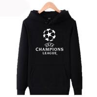 欧冠足球外套男士巴萨皇马AC米兰马竞多特薄款无帽+加绒加厚连帽卫衣球迷服