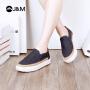 【低价秒杀】jm快乐玛丽春季时尚平底提花增高松糕圆头休闲鞋乐福鞋女鞋