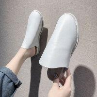 女士无后跟懒人鞋潮 女平底穆勒鞋新款包头半拖鞋女 外穿时尚糖果色拖鞋女